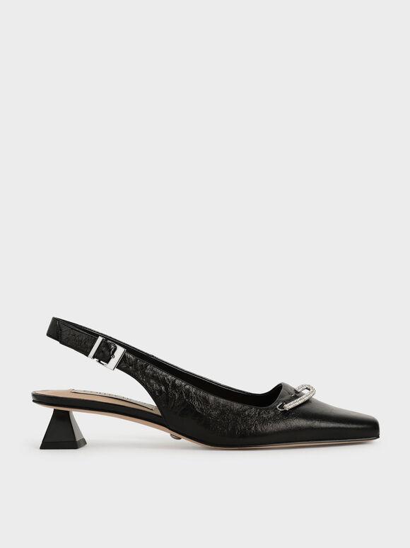 Gem-Embellished Leather Slingback Court Shoes, Black, hi-res