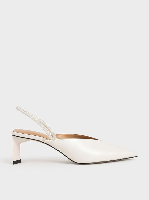 Blade Heel Slingback Court Shoes, White, hi-res
