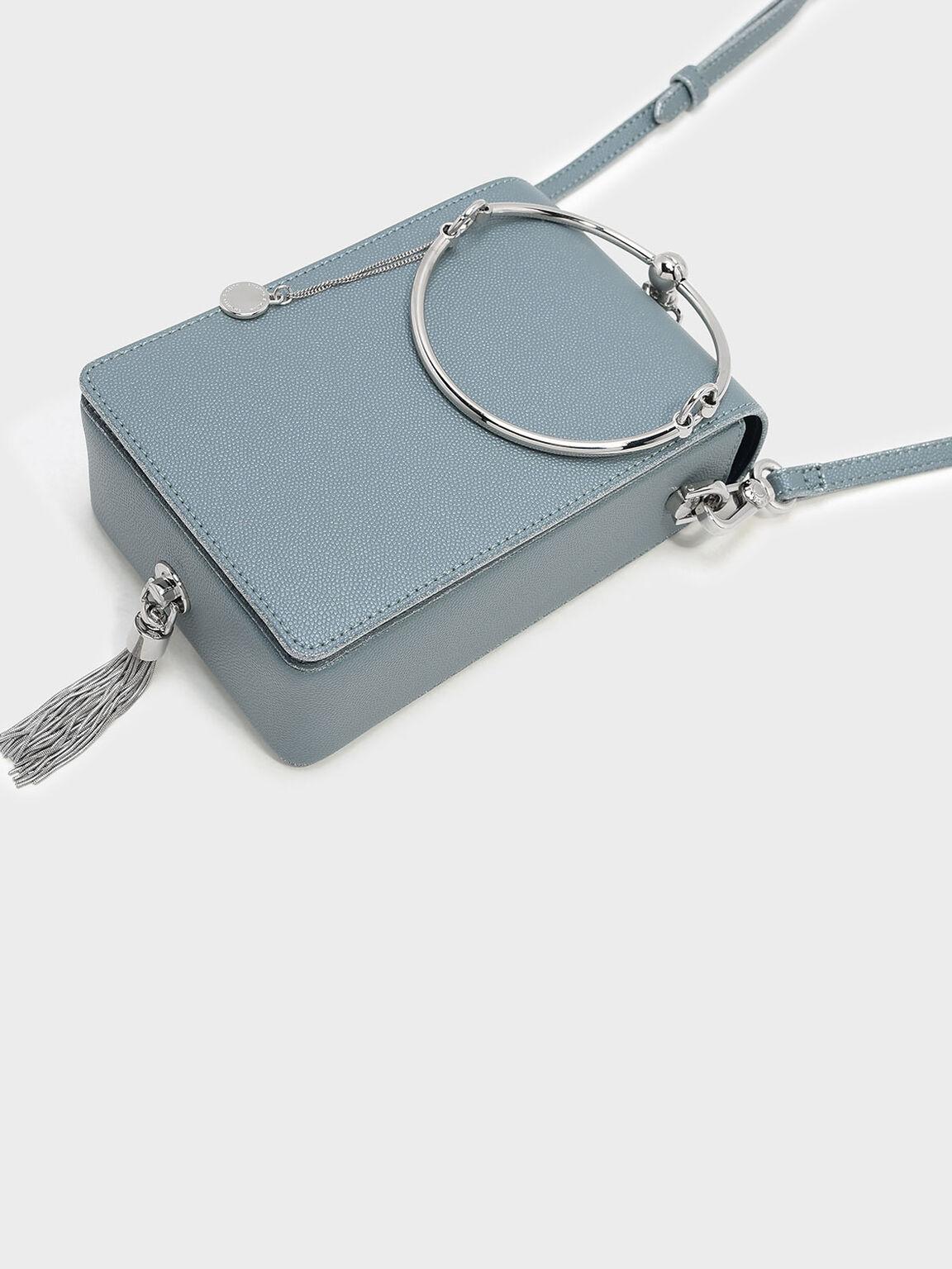 Circular Handle Clutch, Steel Blue, hi-res