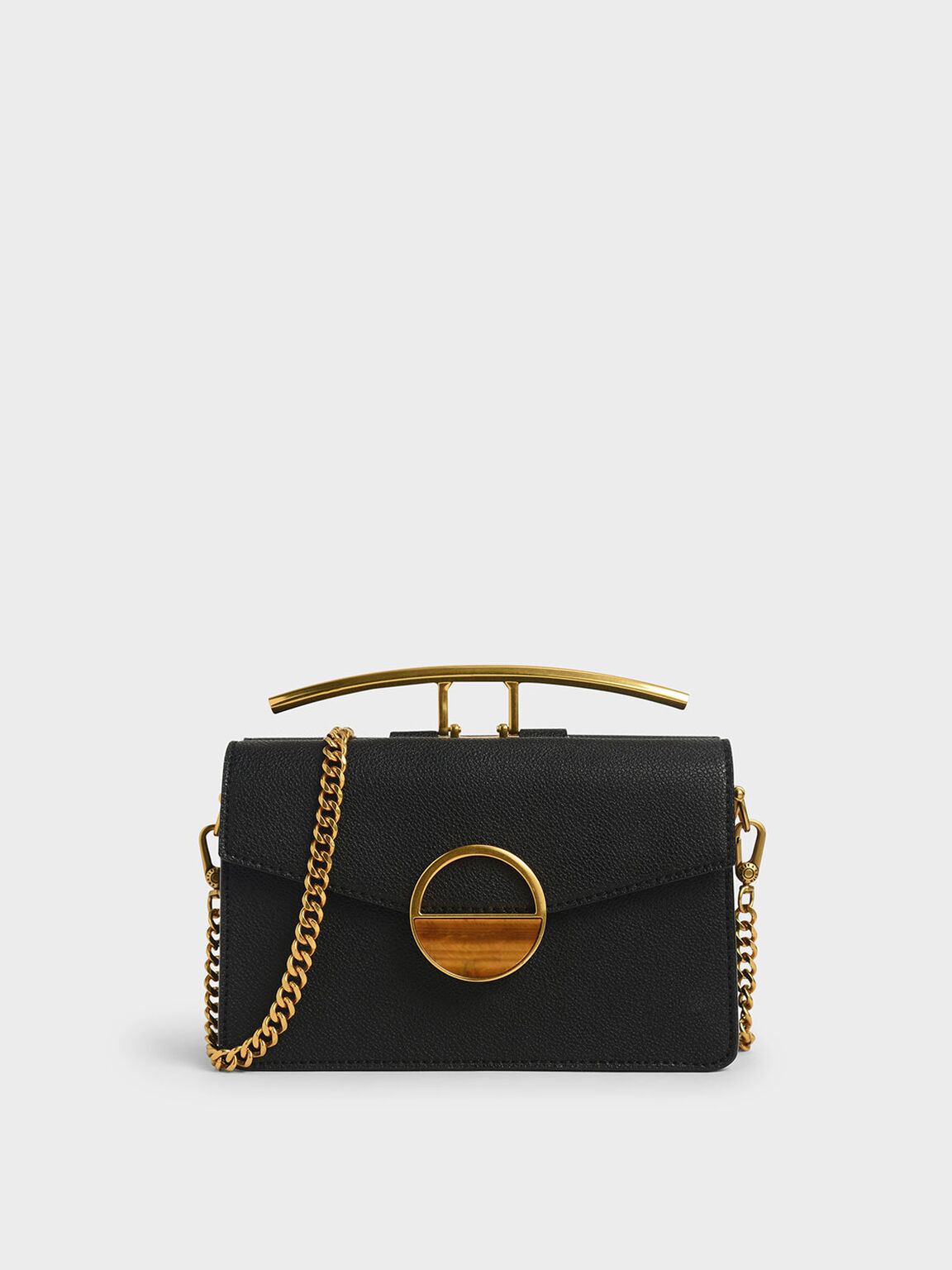 Stone Embellished-Buckle Shoulder Bag, Black, hi-res