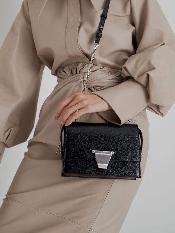 Metal Push-Lock Crossbody Bag, Black, hi-res