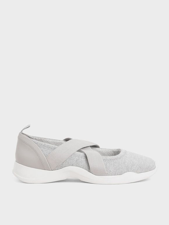 Criss-Cross Slip-On Sneakers, Grey, hi-res