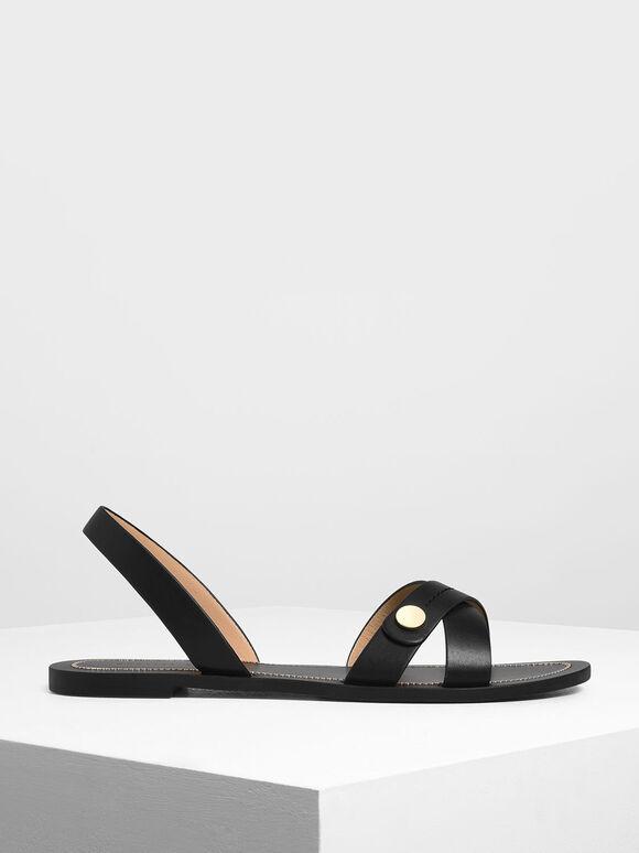 Button Detail Criss Cross Sandals, Black, hi-res
