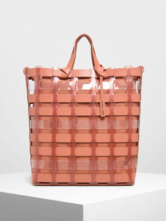 See-Through Woven Tote Bag, Clay, hi-res