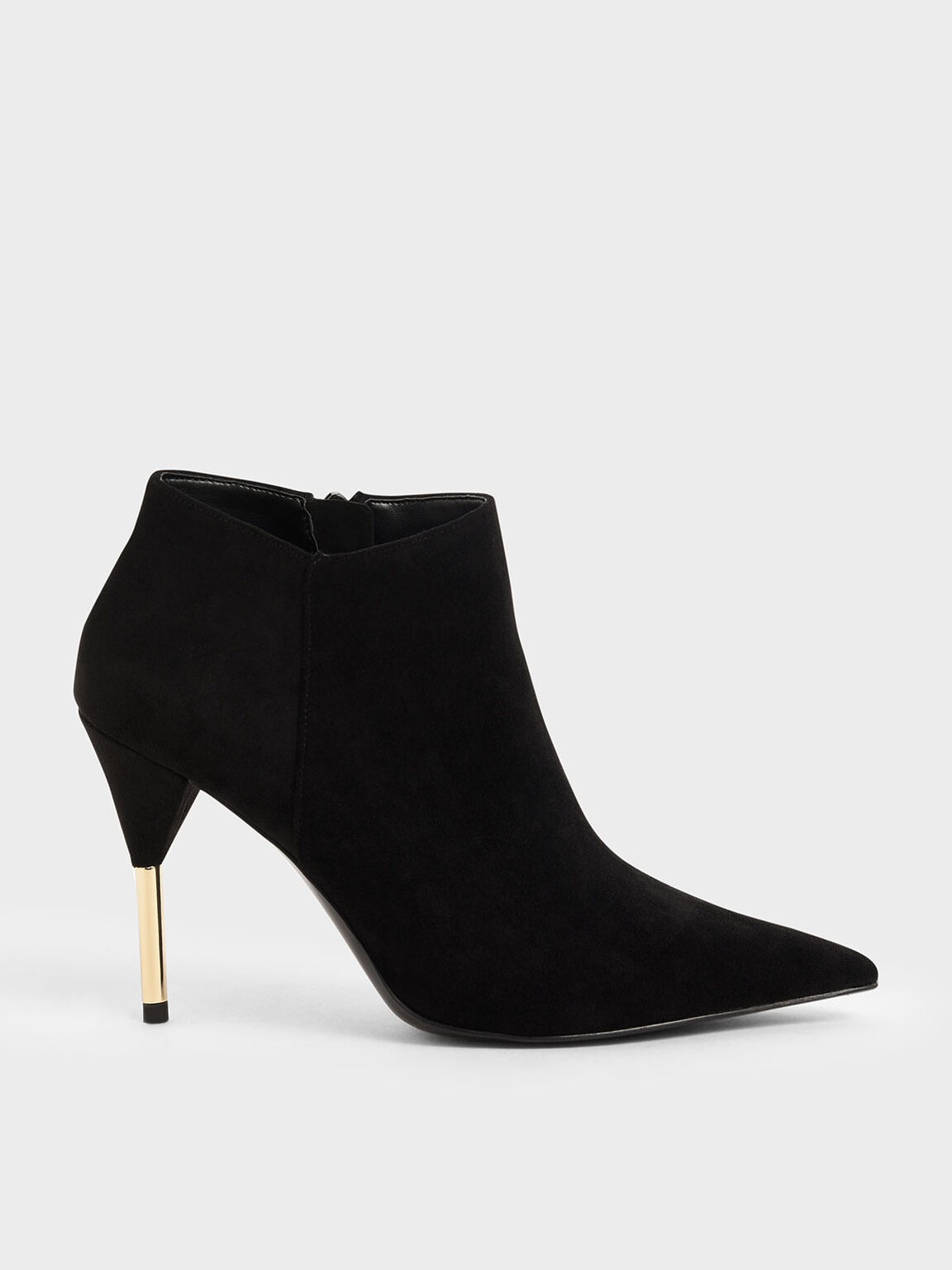 Metallic Stiletto Heel Ankle Boots, Black Textured, hi-res