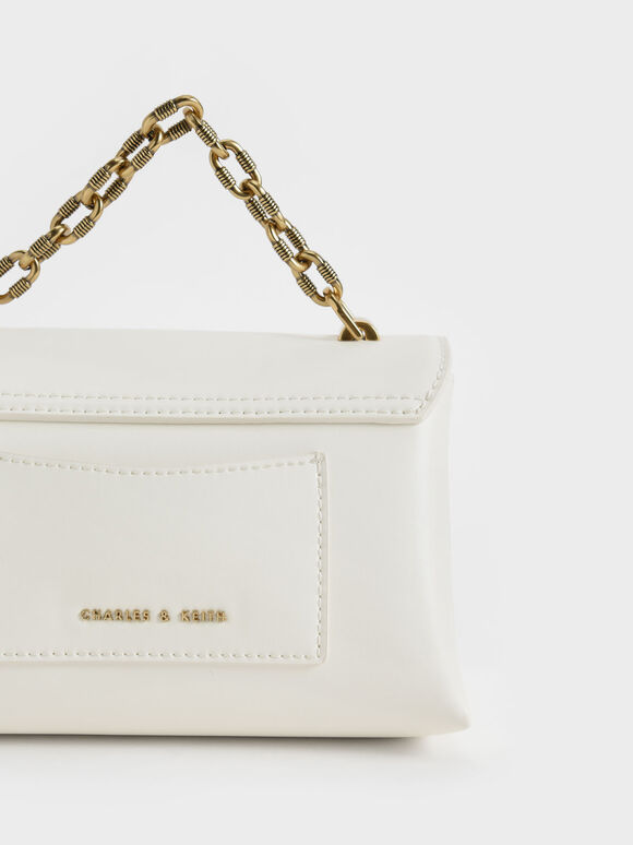 Chain Strap Envelope Crossbody Bag, White, hi-res