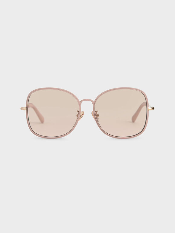 Gradient Tint Butterfly Sunglasses, Rose Gold, hi-res
