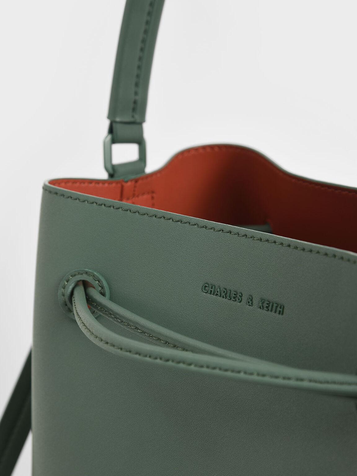 Drawstring Hobo Bag, Green, hi-res