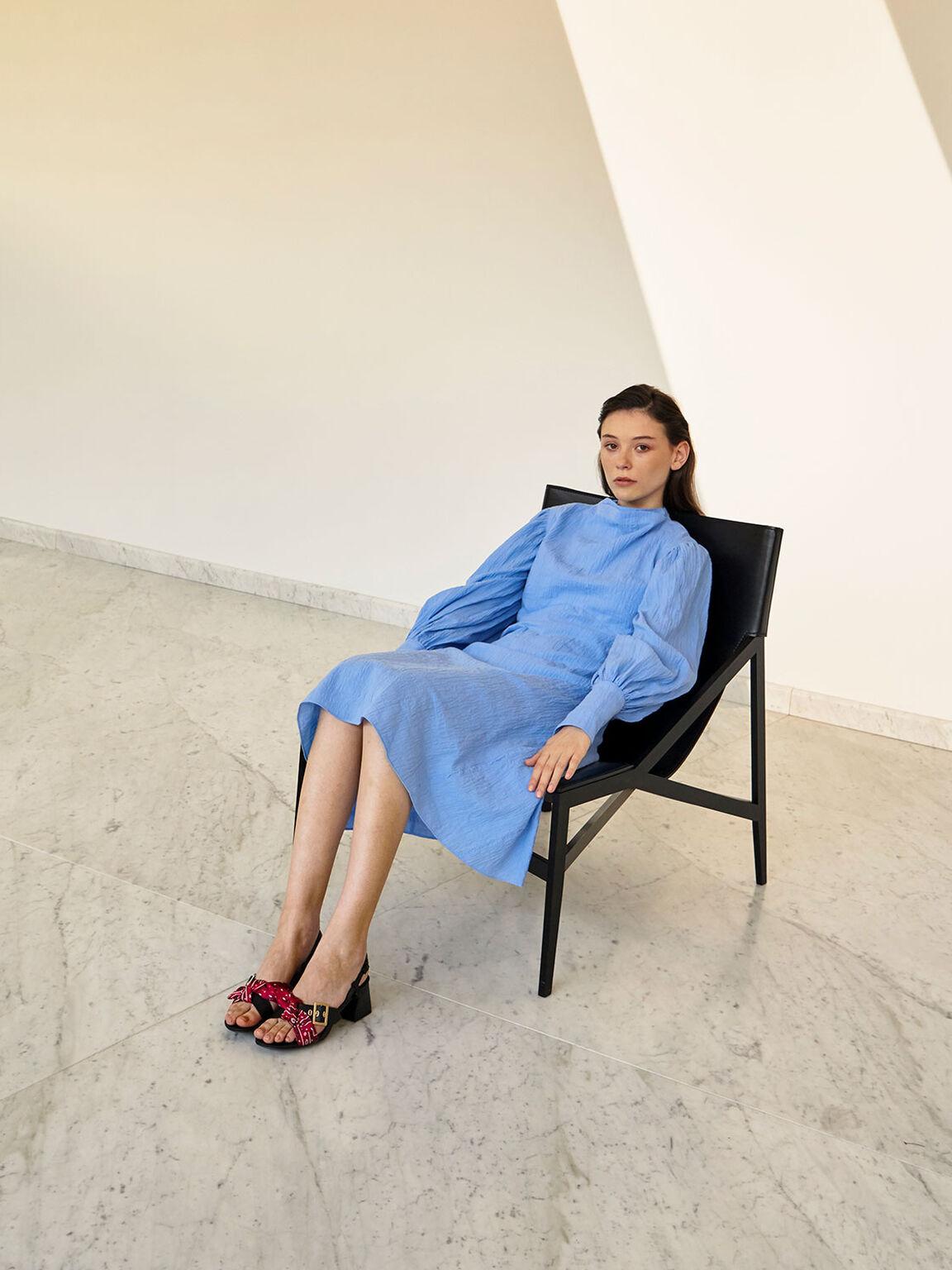 Summer 2020 Responsible Collection: Bandana Print Tie Slingbacks, Red, hi-res