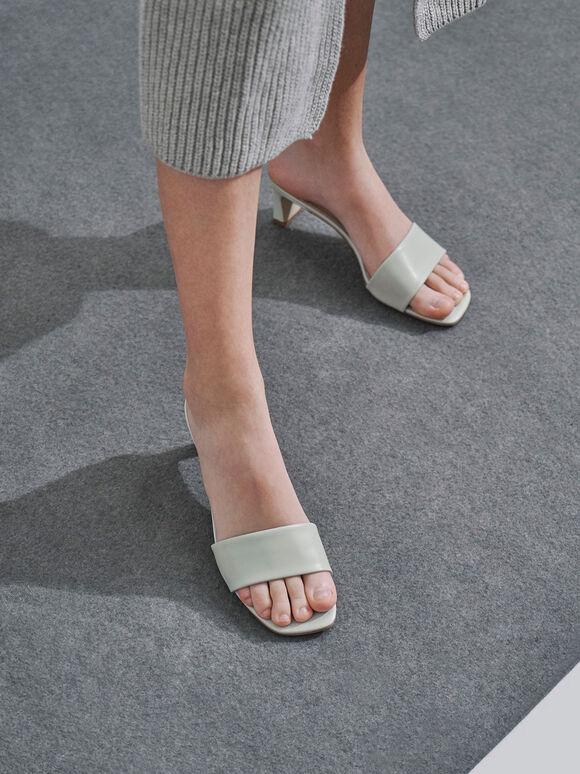 Open Square Toe Mules, Light Grey, hi-res