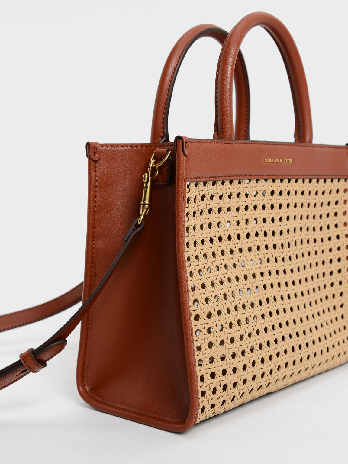 Woven Double Handle Tote Bag, Brown, hi-res