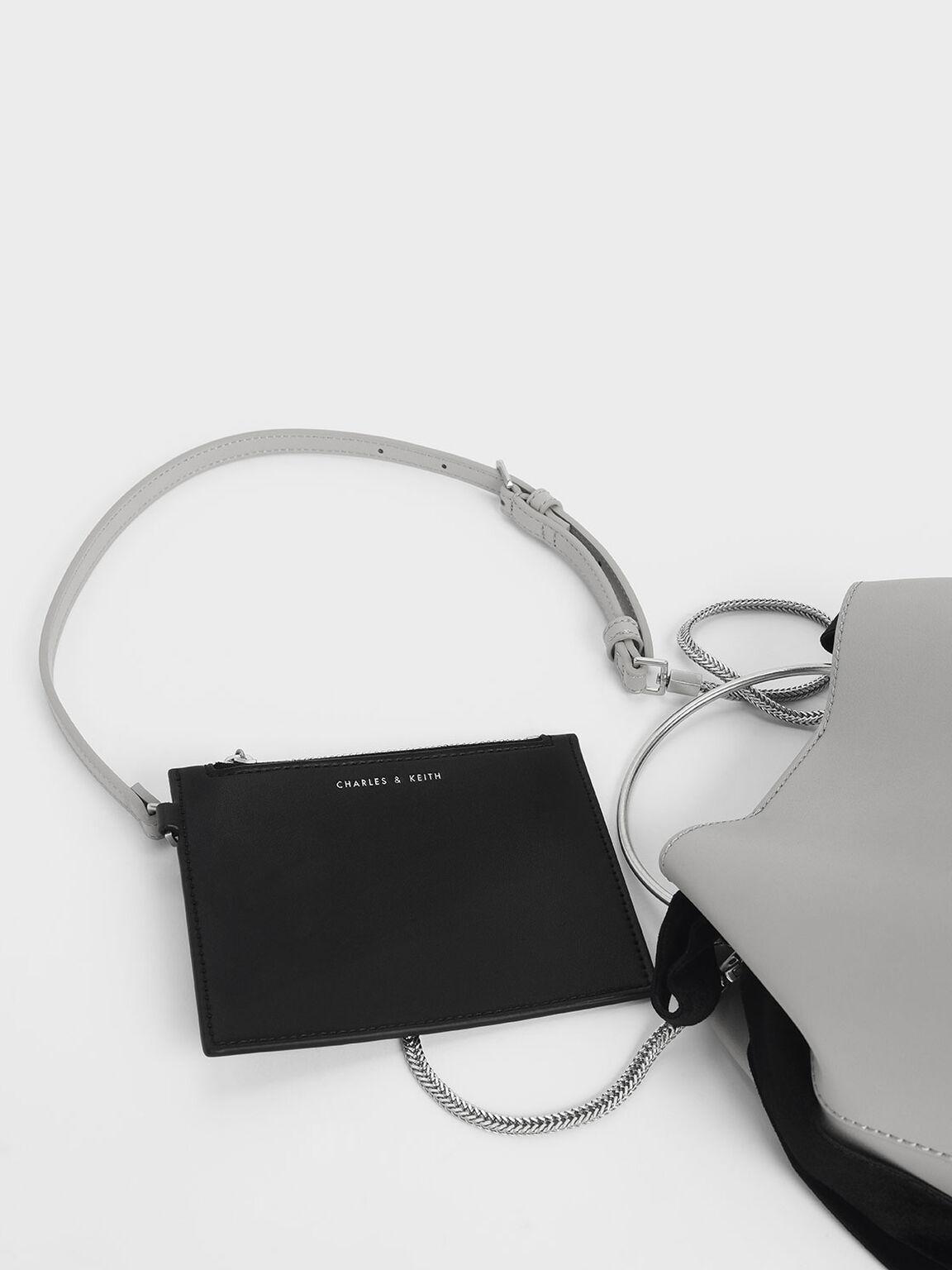 Velvet Bow Detail Bucket Bag, Grey, hi-res