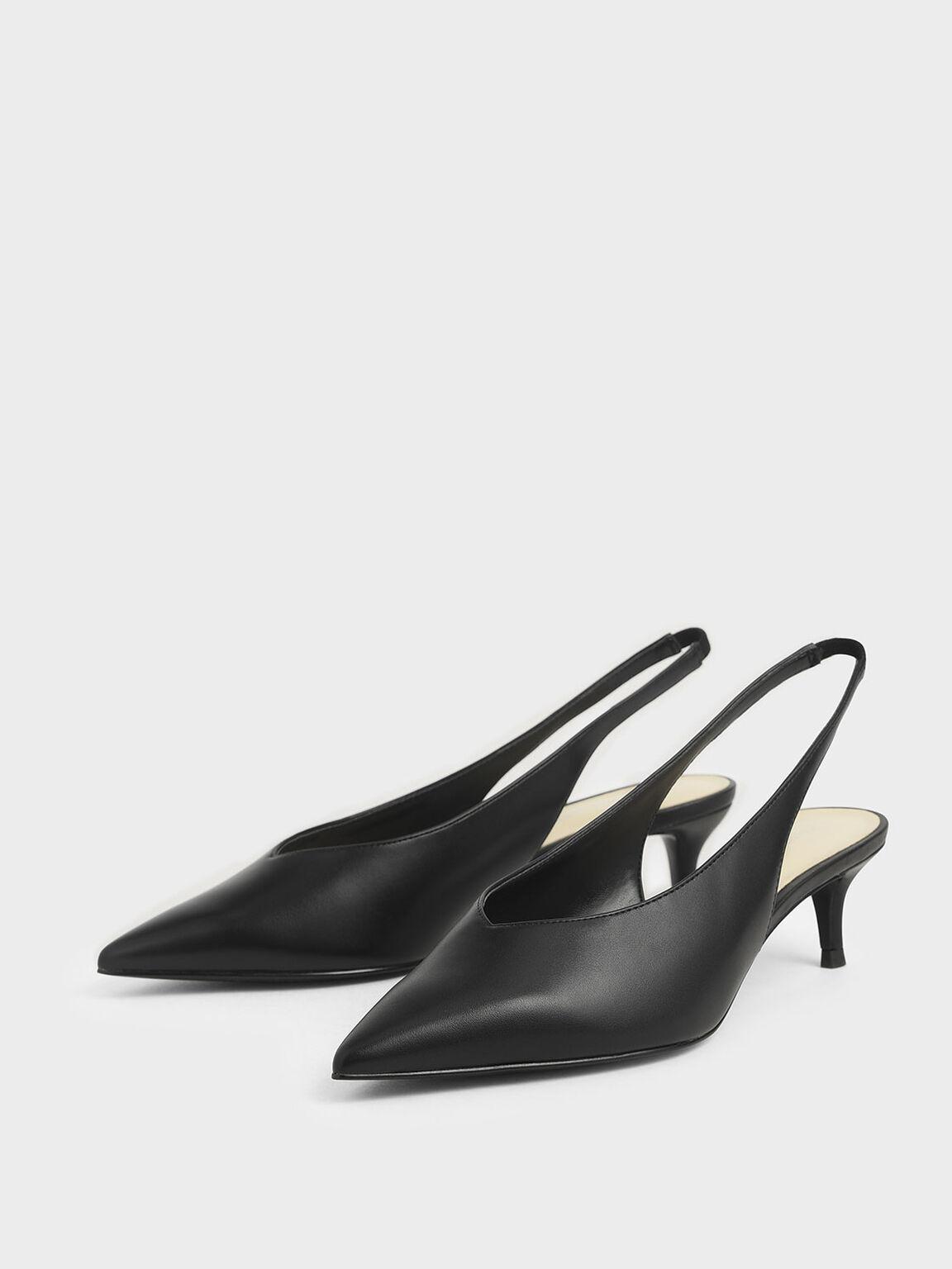 Slingback Kitten Heels, Black, hi-res