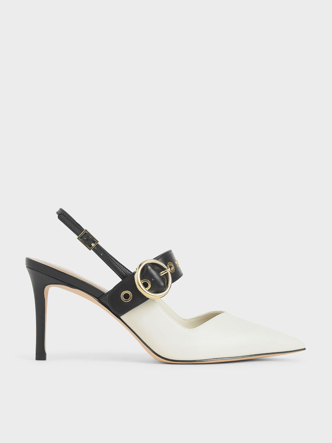 Grommet Slingback Pumps, Chalk, hi-res