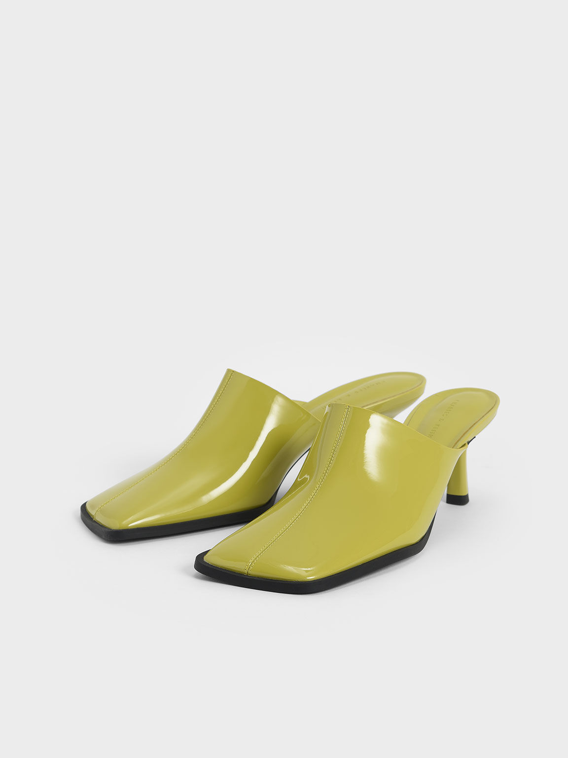 Patent Covered Mules, Moss, hi-res