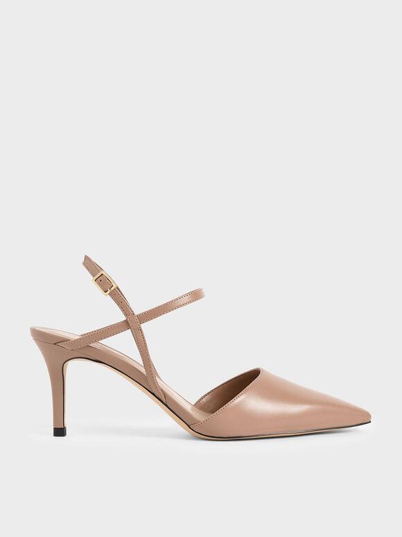 Ankle Strap Stiletto Court Shoes, Nude, hi-res
