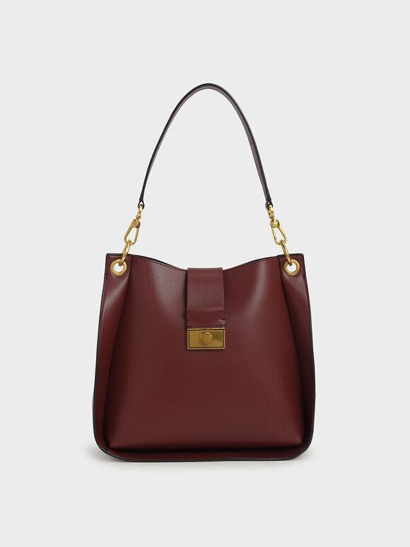 Push-Lock Bucket Shoulder Bag, Burgundy, hi-res