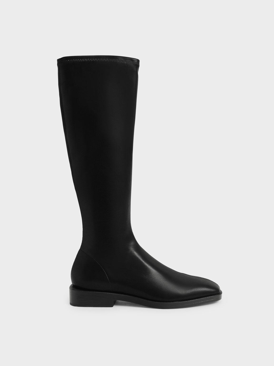 Knee High Flat Boots, Black, hi-res