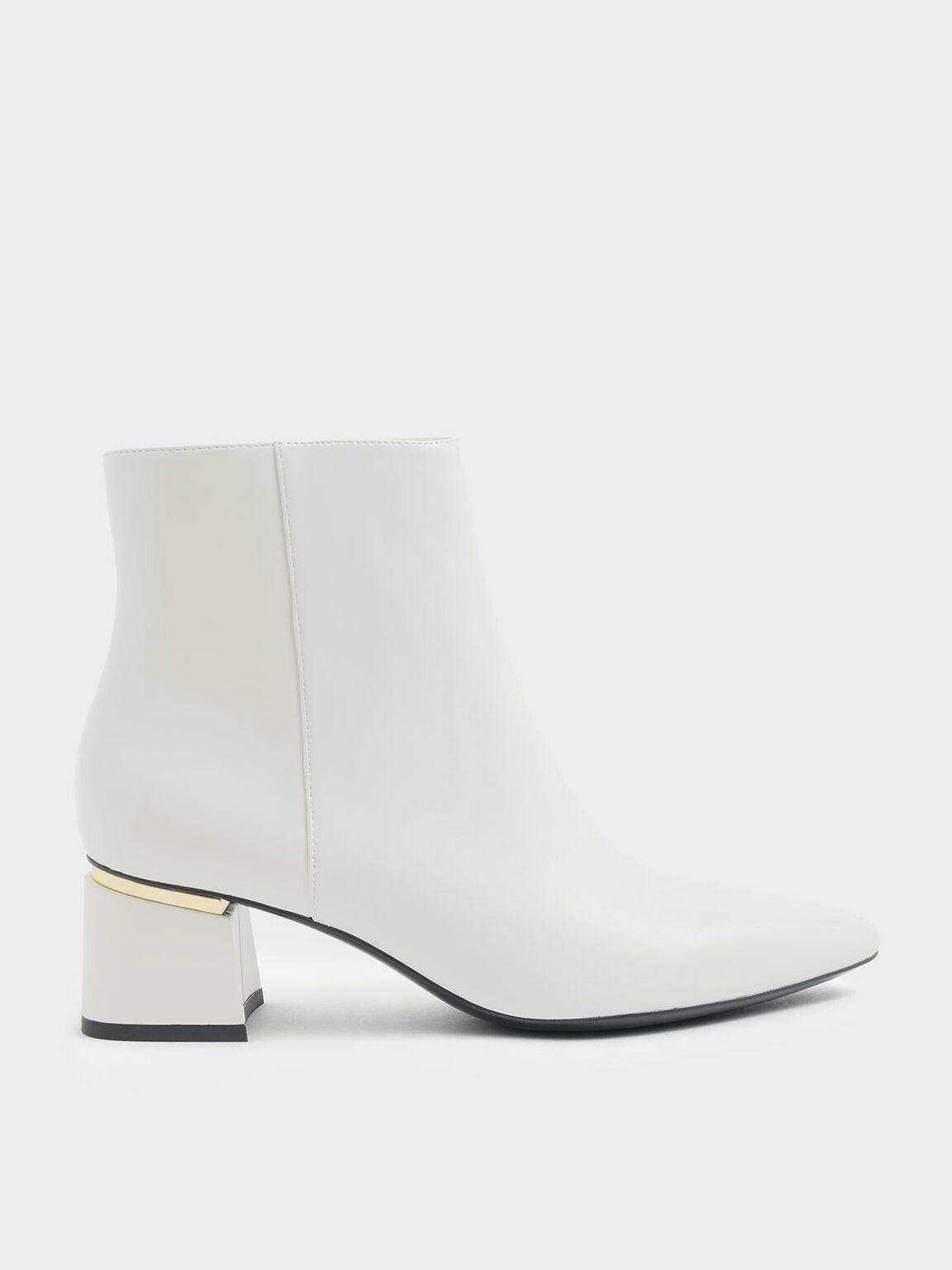 Metal Accent Block Heel Ankle Boots, Chalk, hi-res