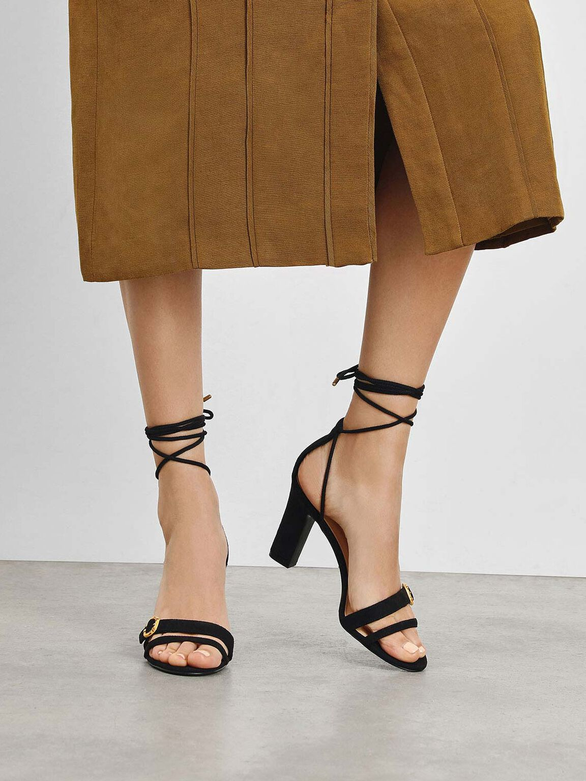 Open Toe Strappy Block Heels, Black, hi-res