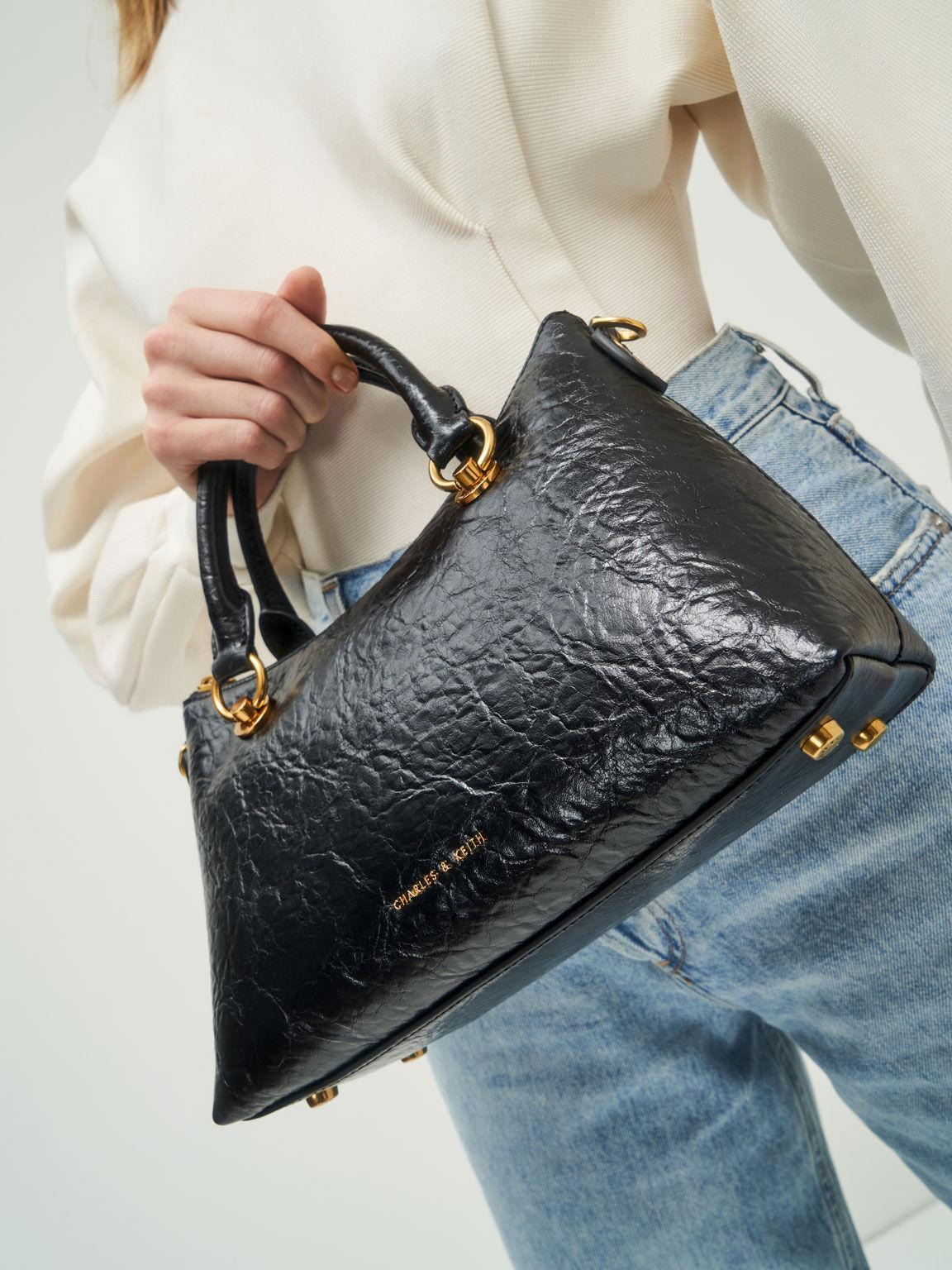 Double Handle Shoulder Bag, Black, hi-res