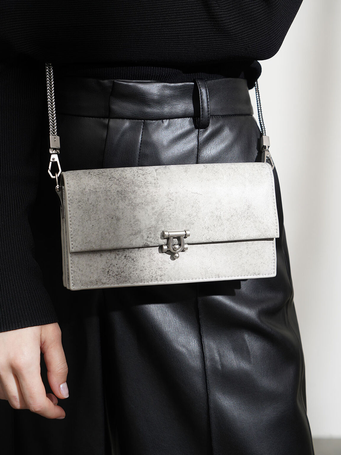 Metallic Accent Long Wallet, Grey, hi-res