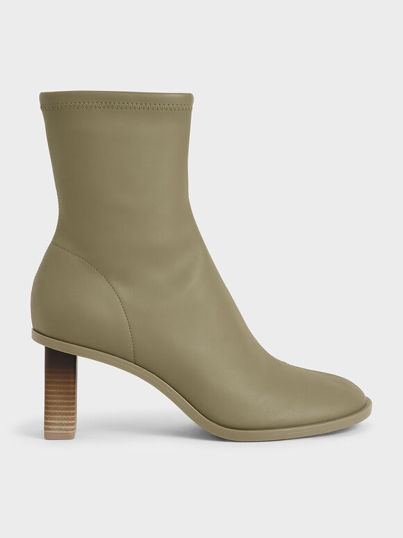 Side-Zip Ankle Boots, Sage Green, hi-res