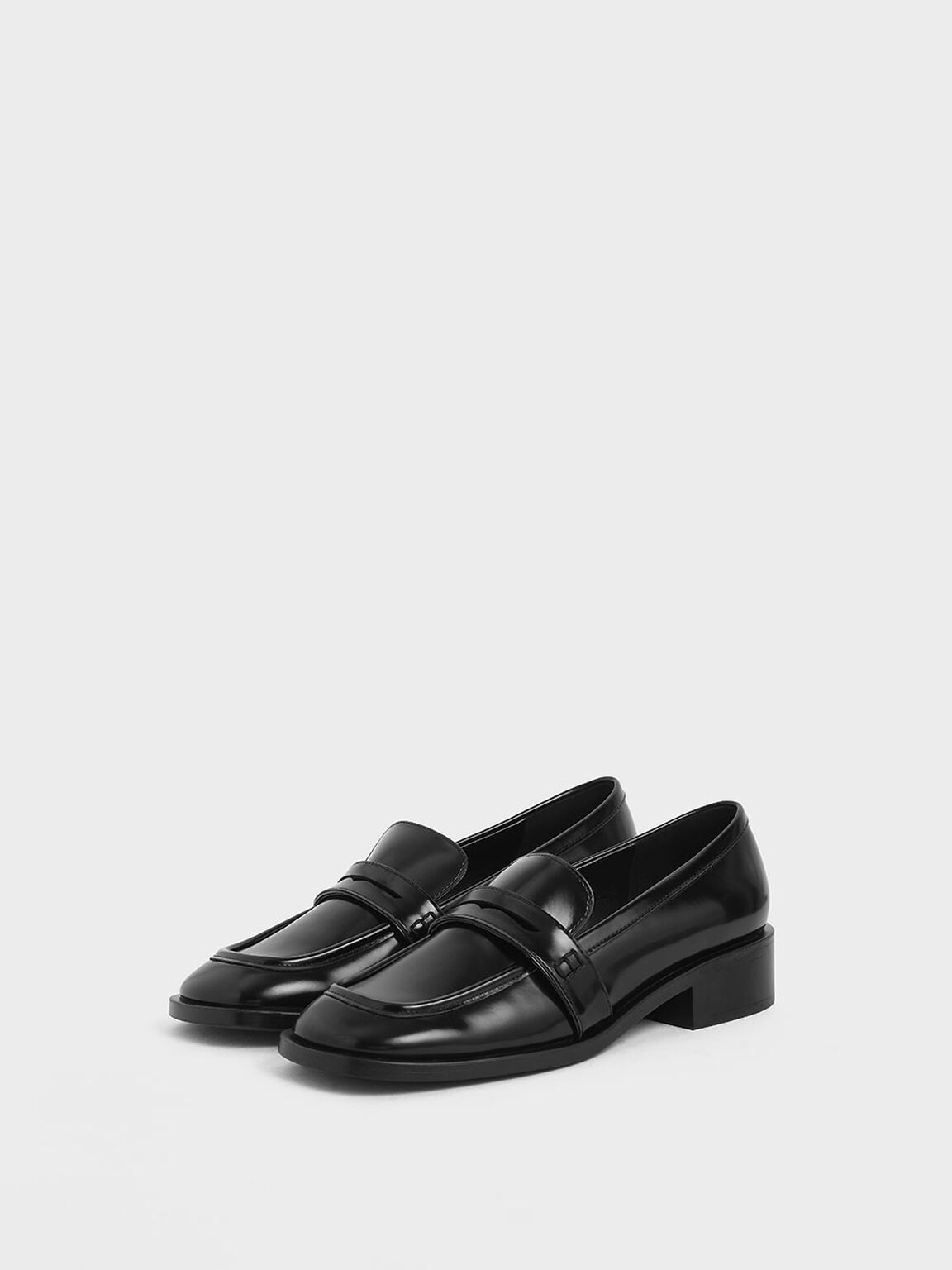 Glossy Finish Penny Loafers, Black, hi-res