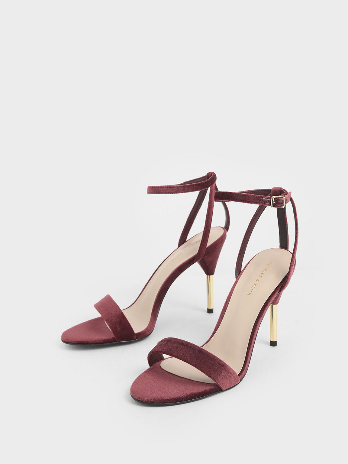 Velvet Stiletto Heels, Red, hi-res