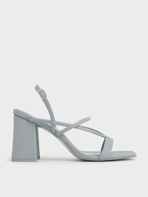 Strappy Chunky Heel Sandals, Light Blue, hi-res
