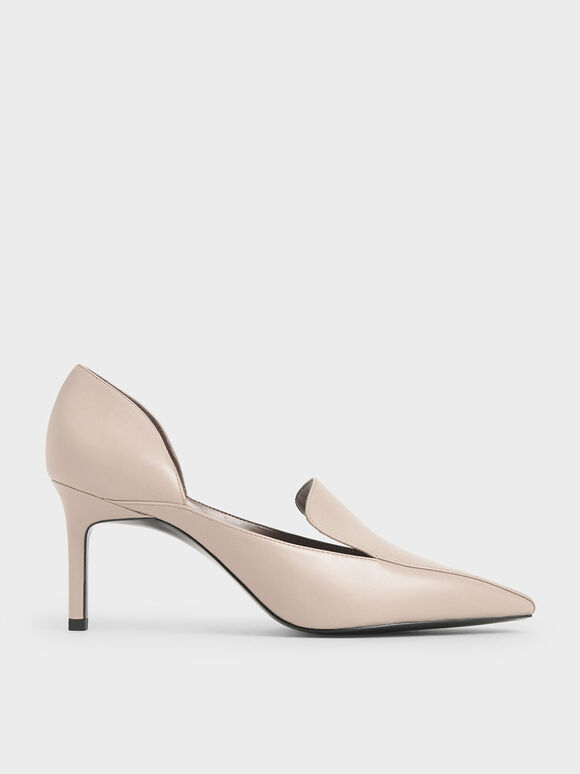 D'Orsay Loafer Pumps, Nude, hi-res