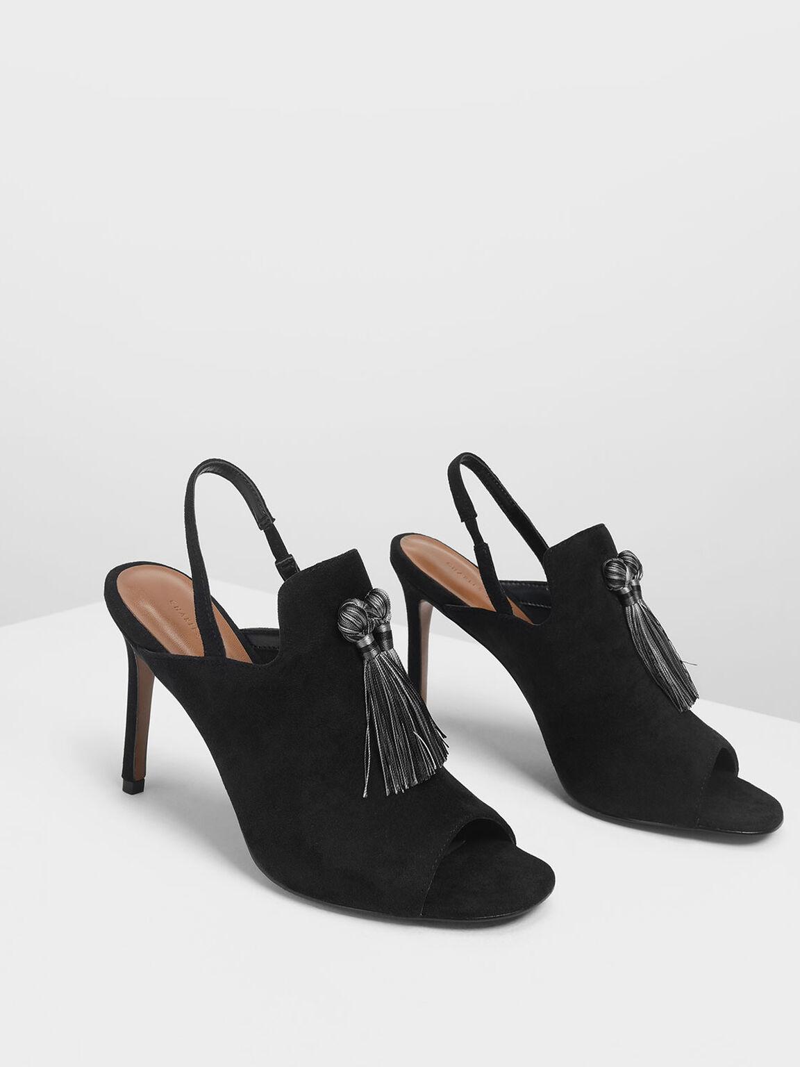 Textured Tassel Slingback Heels, Black, hi-res