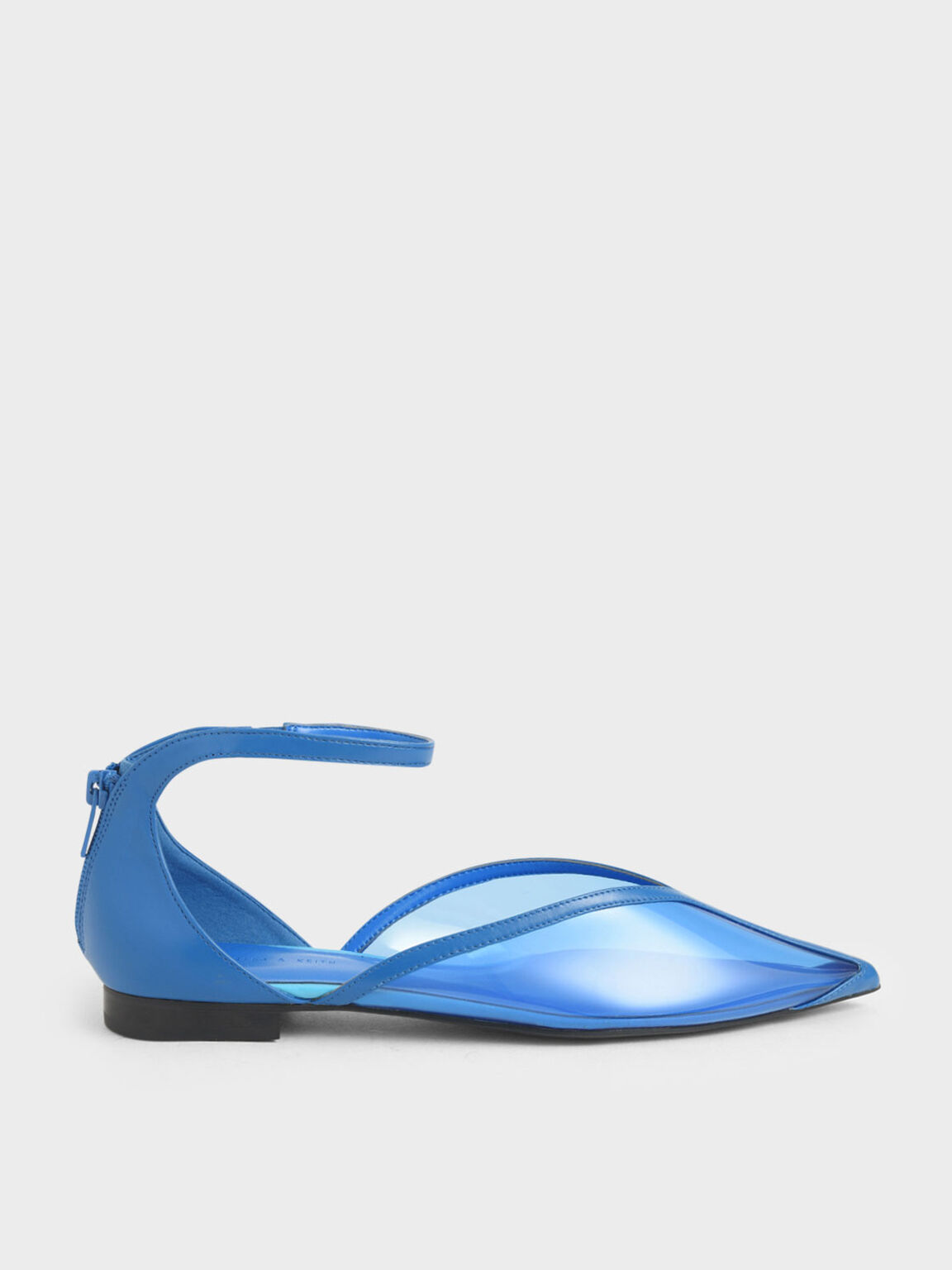 See-Through Effect Flat Pumps, Blue, hi-res