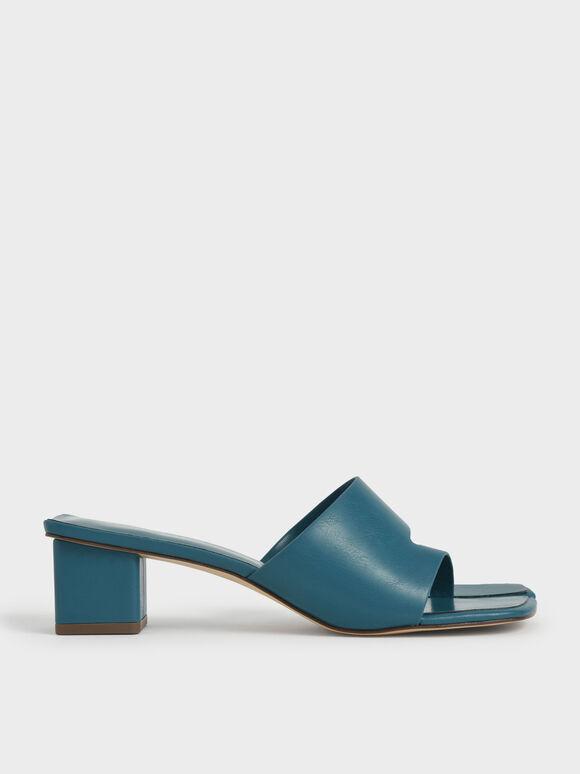 Cut-Out Thong Sandals, Teal, hi-res
