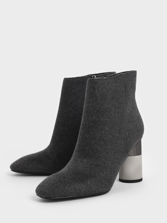 Concrete Heel Felt Ankle Boots, Dark Grey, hi-res