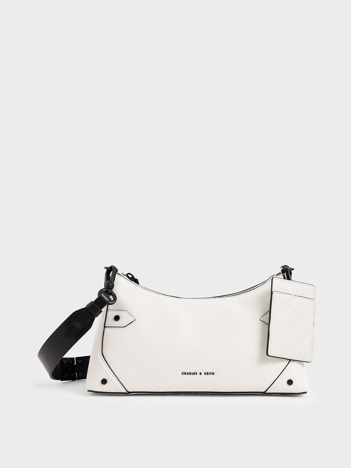 Chain Handle Bag, White, hi-res