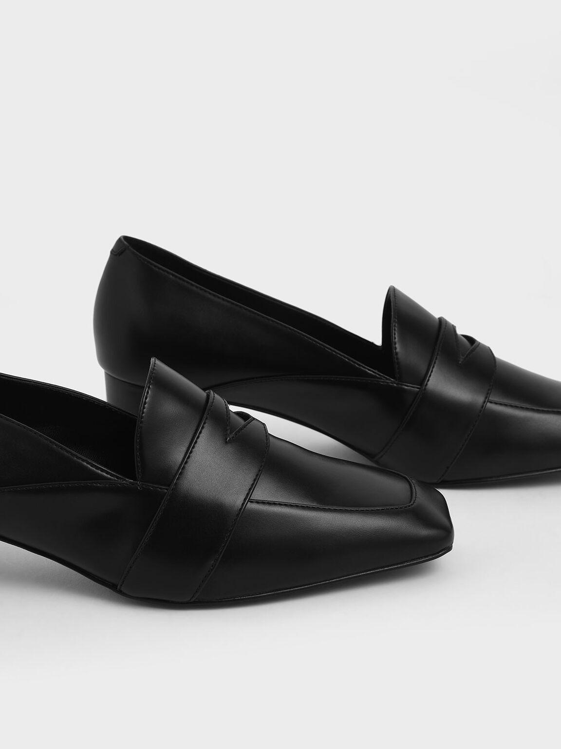 Square Toe Block Heel Loafers, Black, hi-res