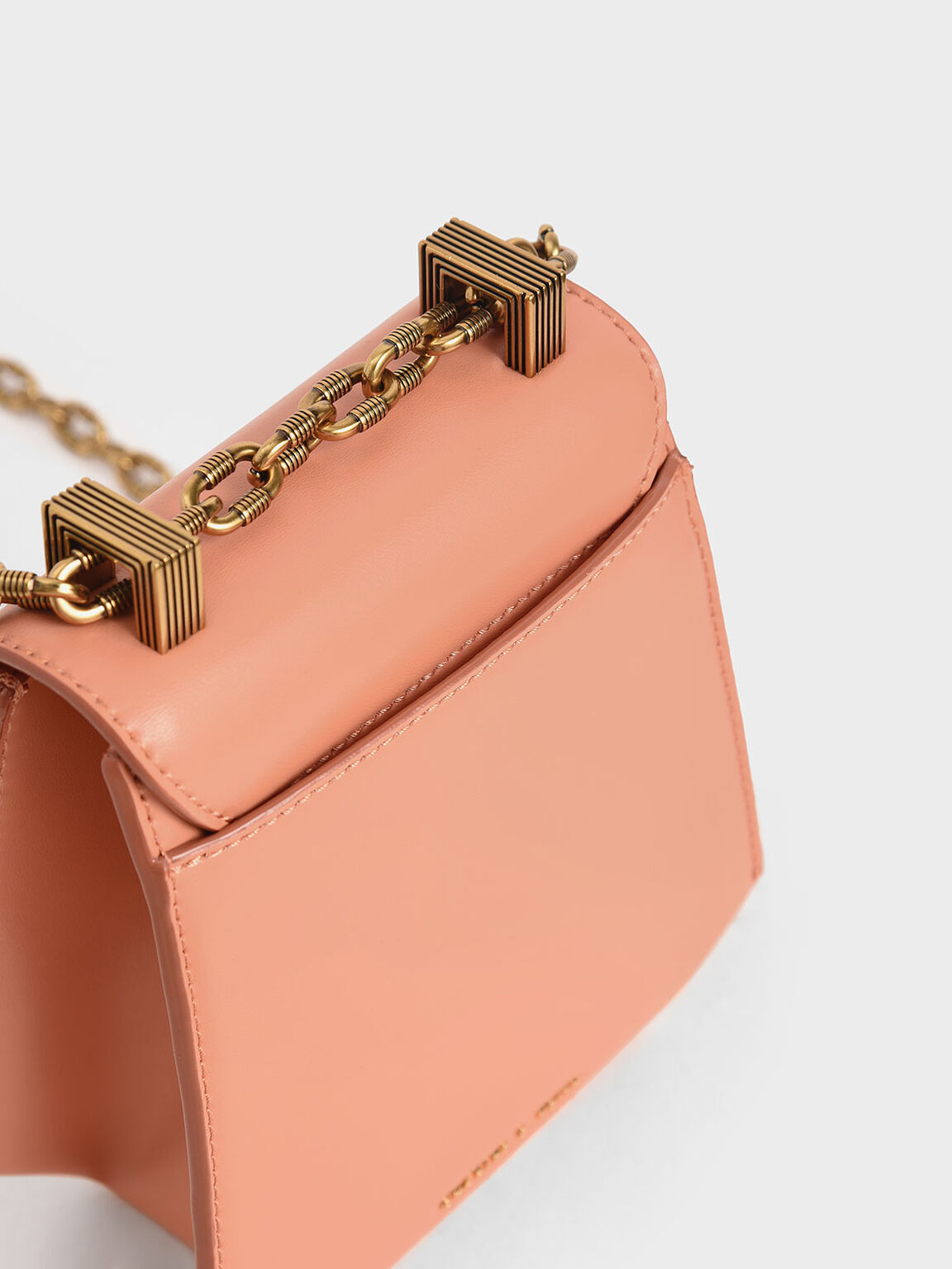 Metallic Accent Geometric Crossbody Bag, Peach, hi-res