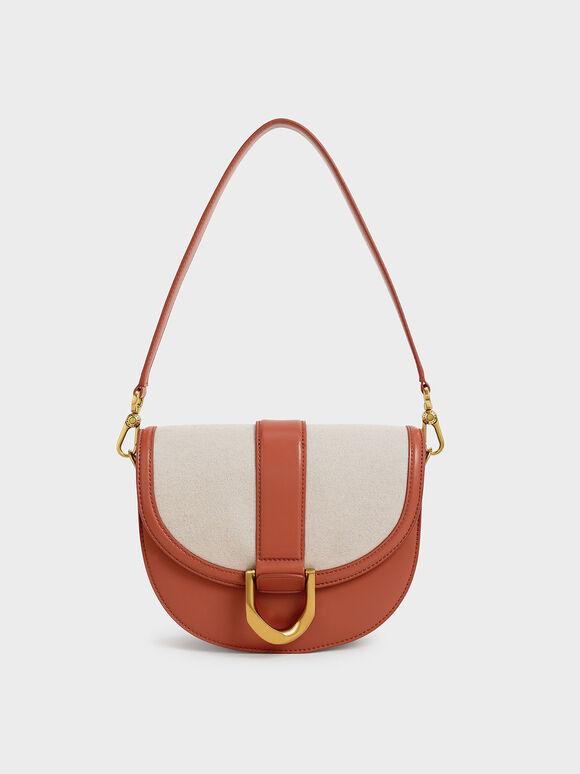 Gabine Two-Tone Saddle Bag, Brick, hi-res