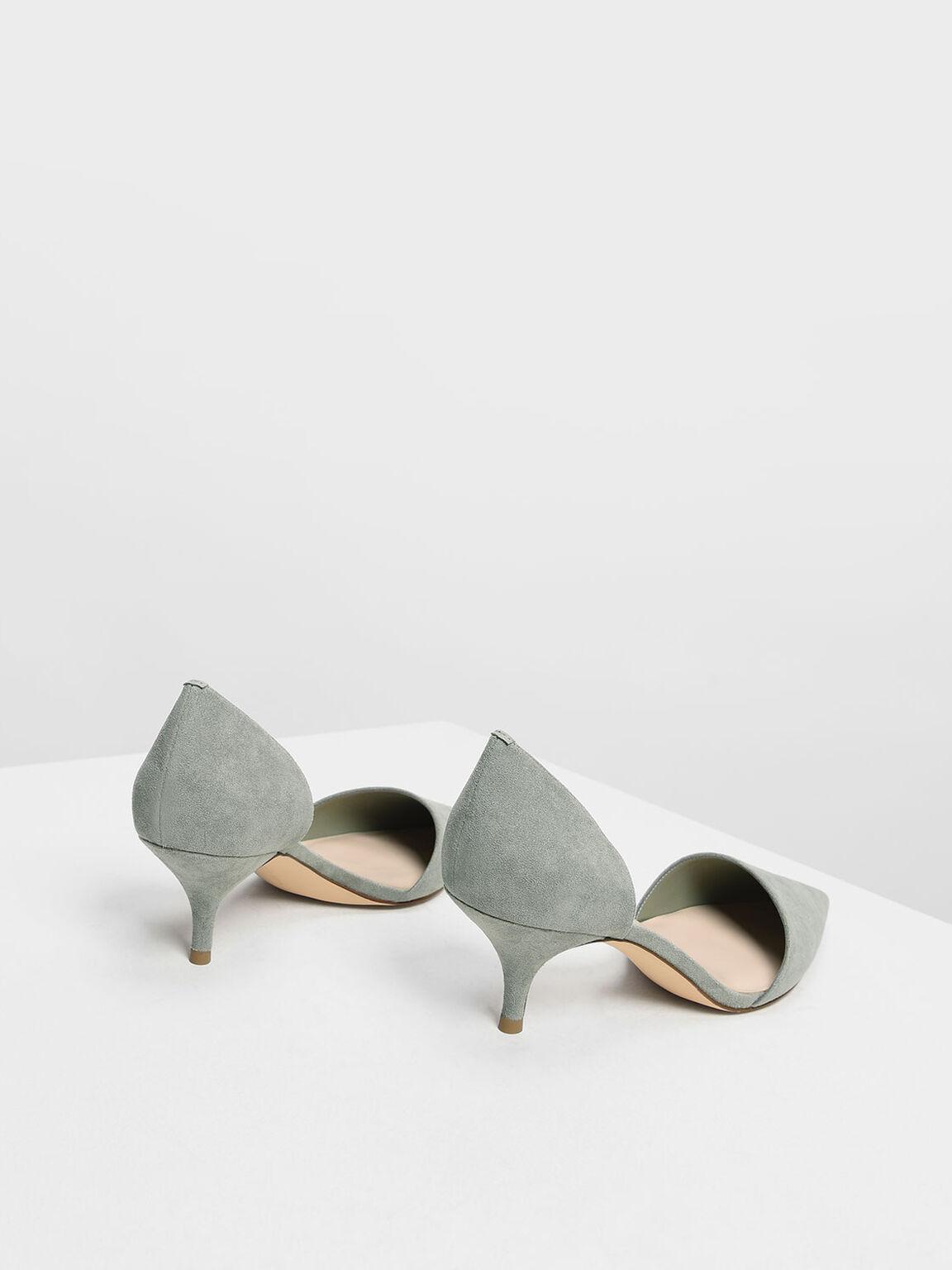 D'Orsay Kitten Heel Pumps, Green, hi-res