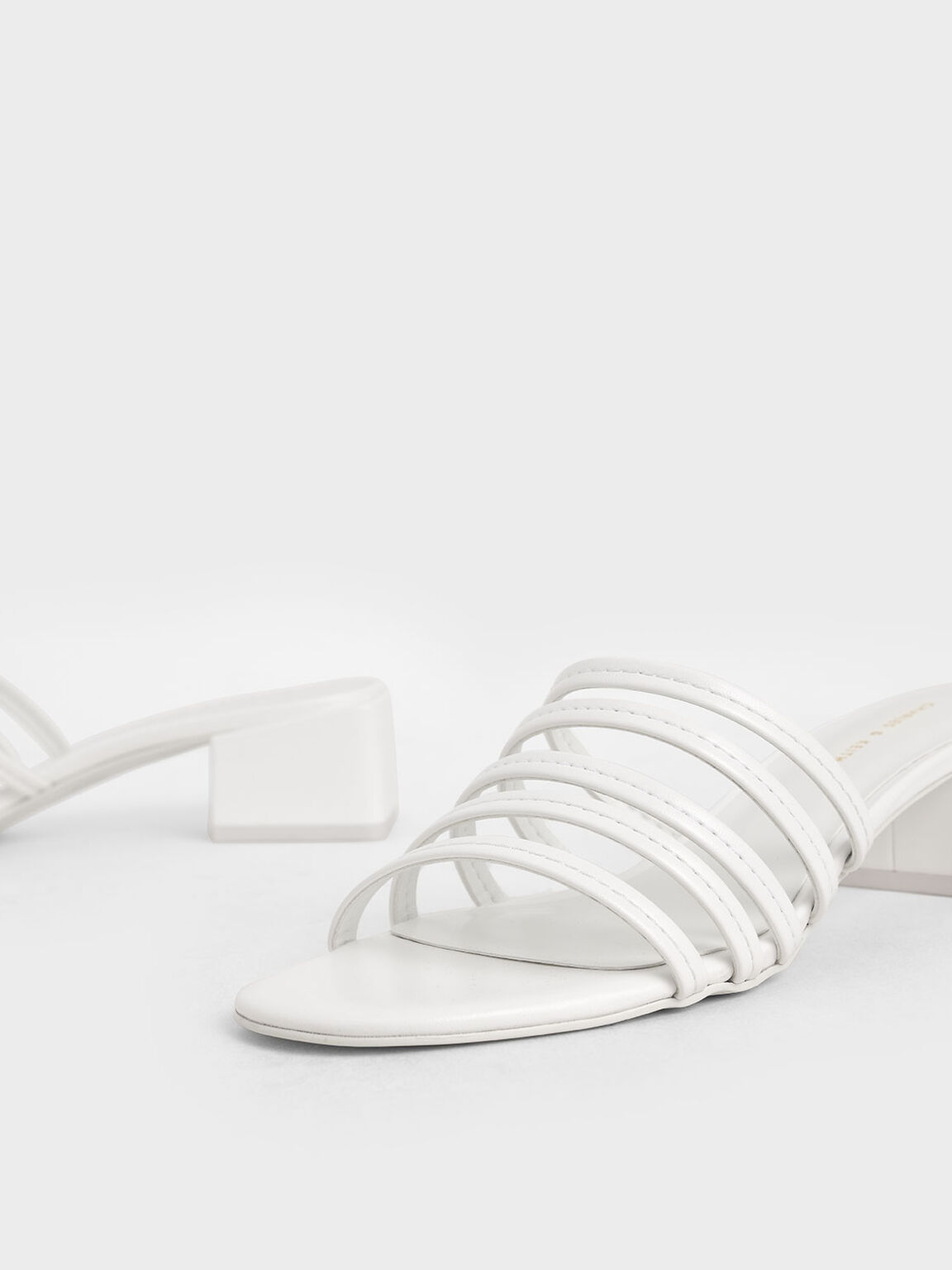 Strappy Mules, White, hi-res
