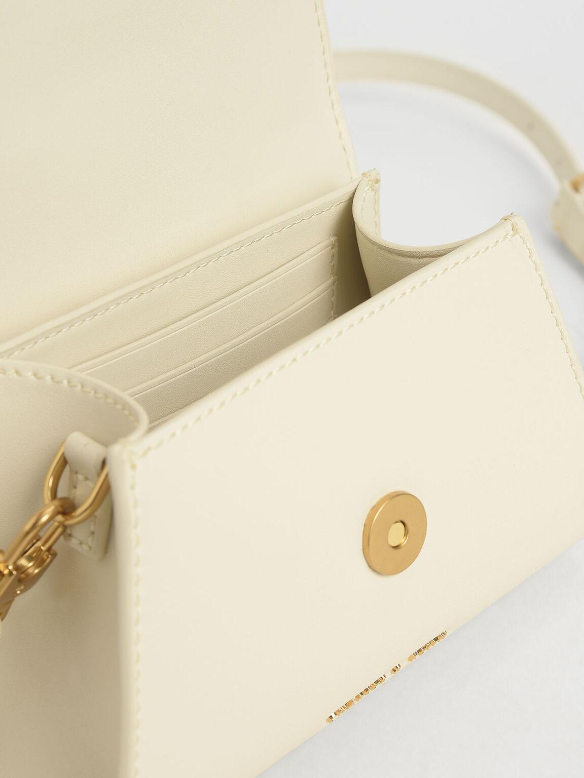 Woven Buckle Top Handle Bag, Cream, hi-res