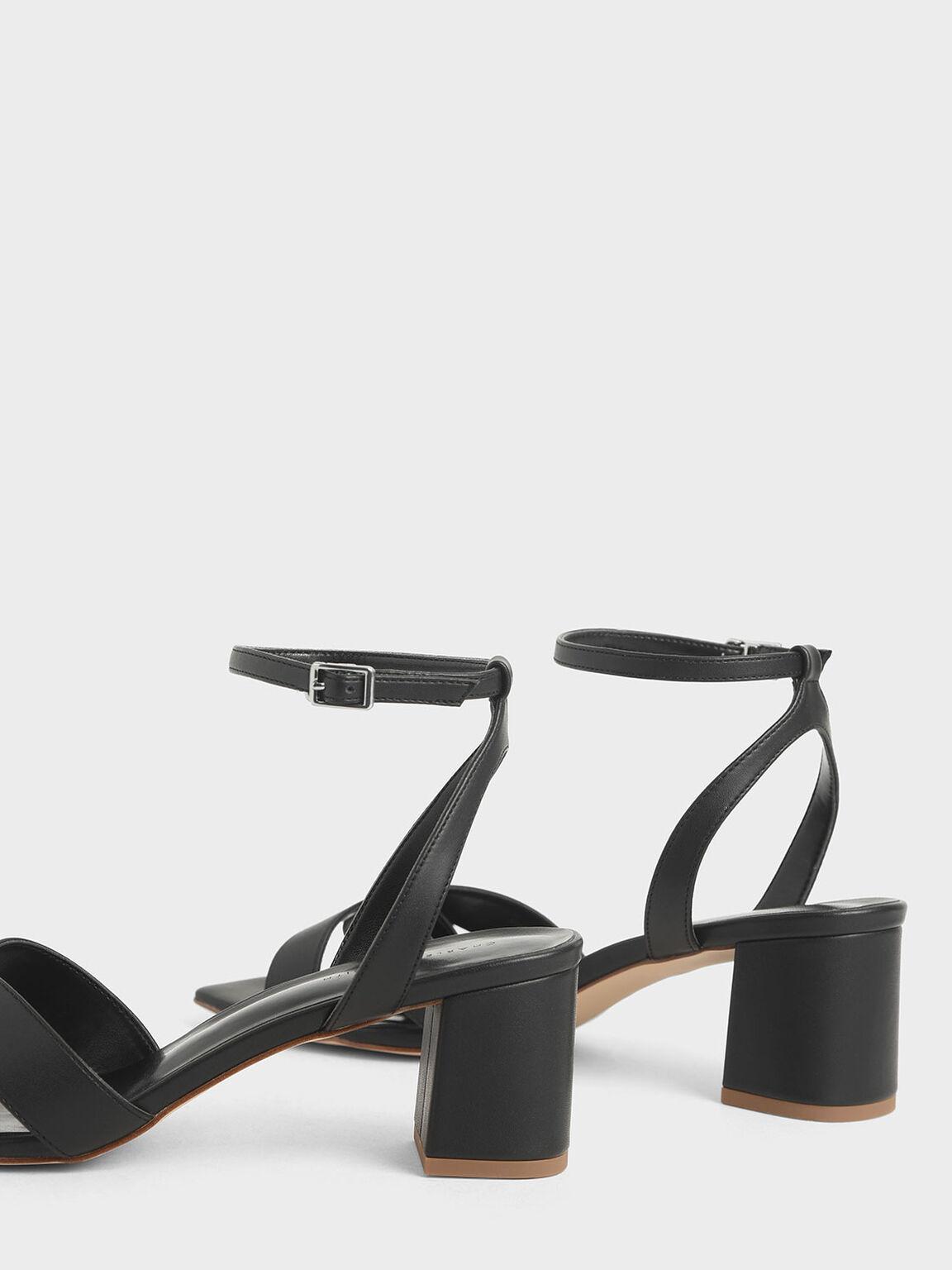 Criss Cross Block Heel Sandals, Black, hi-res
