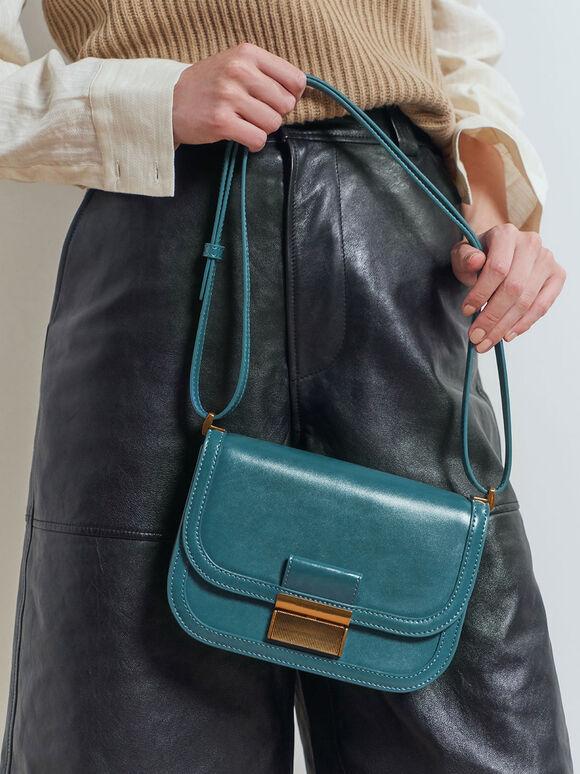 Metallic Push-Lock Crossbody Bag, Turquoise, hi-res