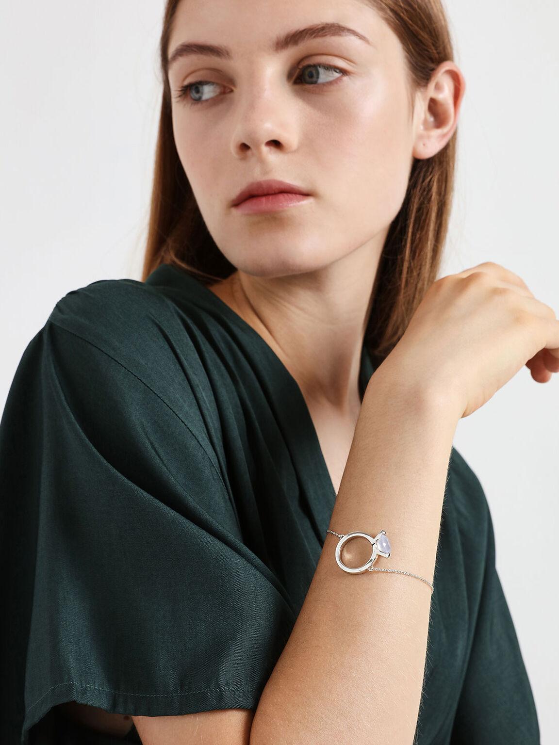 Chalcedony Stone Ring Bracelet, Silver, hi-res