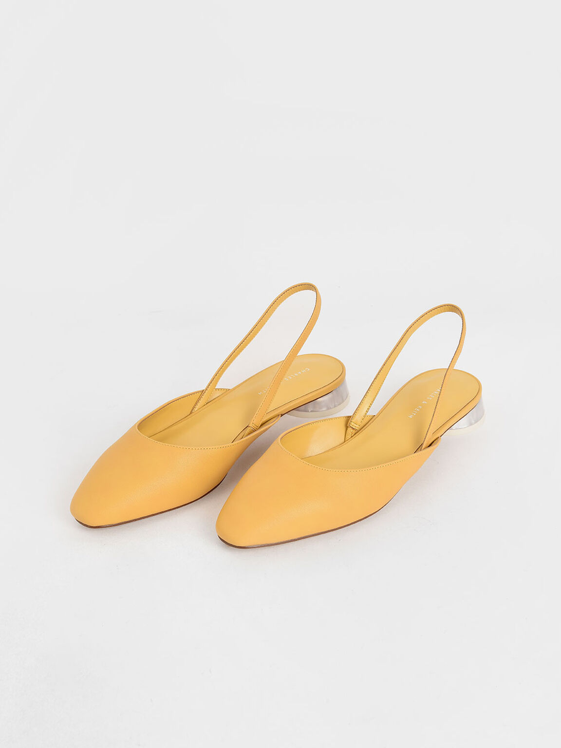 Cylindrical Heel Slingback Pumps, Yellow, hi-res