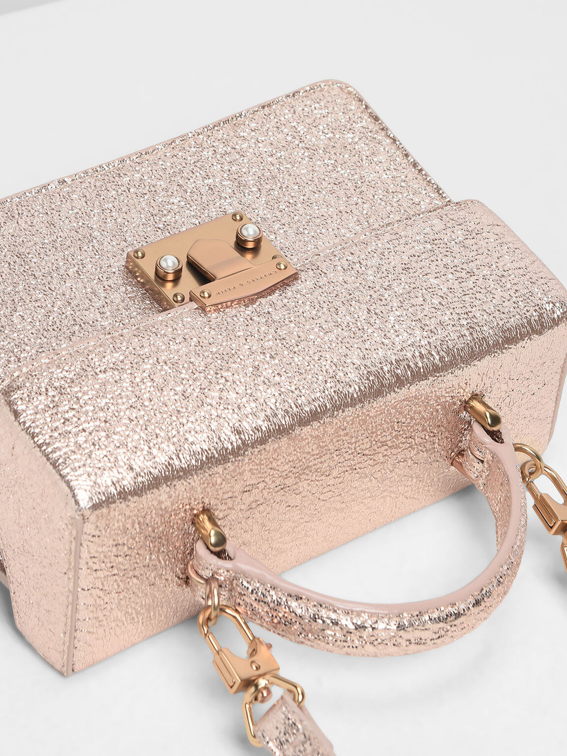 Metallic Classic Top Handle Bag, Rose Gold, hi-res