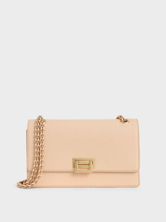 Chain Strap Push-Lock Shoulder Bag, Nude, hi-res