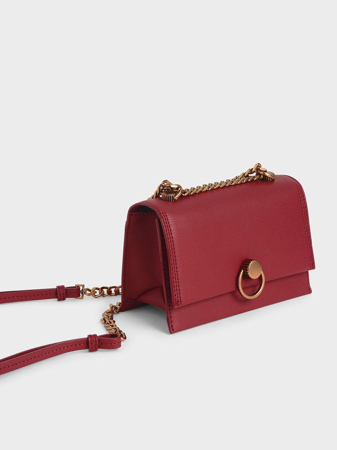 Ring Push-Lock Shoulder Bag, Rose, hi-res