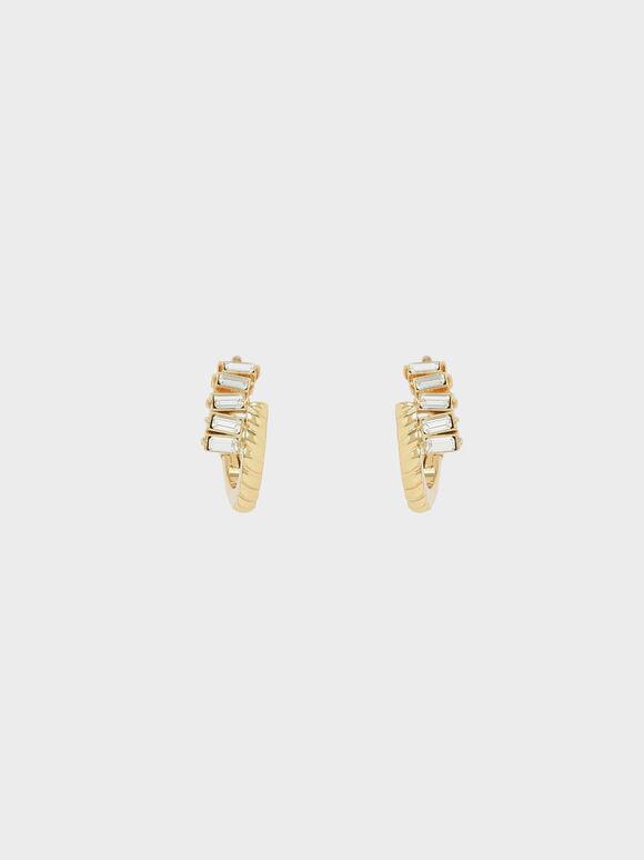 Swarovski® Crystal Embellished Huggie Hoop Earrings, Gold, hi-res